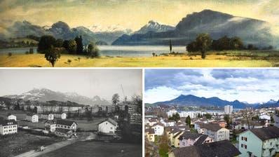 ZweiGemälde des Luzern Kunstmalers Walter Küng (1919-2000) vom Gebiet Schönbühl in Luzern. Die Topografie stimmt präzis. Die Landschaft vorne malte Küng historisierend-idyllisch - so wie er sie sich vor ihrer Überbauung vorstellte. Auf dem undatierten Bild oben sind links Rigi, Vitznauerstock und Fronalpstock zu sehen, rechts Niederbauen und Bürgenstock. (Bild ABL)