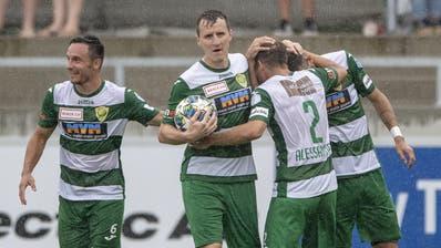 Die Krienser Spieler feiern das 1:1 von Kriens beim Challenge League Meisterschaftsspiel zwischen dem SC Kriens und dem FC Vaduz vom Sonntag, 2. August 2020 in Kriens. (KEYSTONE/Urs Flueeler) (Urs Lindt / freshfocus)