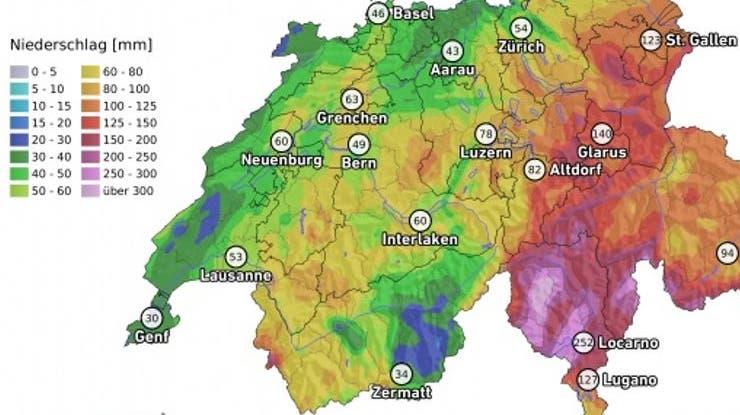 Niederschlagsbilanz: Im Tessin fiel in drei Tagen mehr Regen als sonst im August