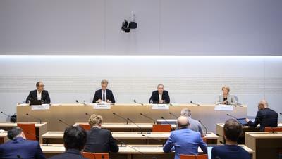 Die Bundes-Experten und Expertinnen an der Medienkonferenz vom Mittwoch. (Keystone)