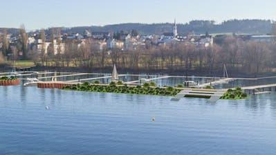 Die Visualisierung zeigt, wie der neue Hafen neben dem Münsterlinger Badeplatz aussehen wird. ((Bild: PD/Wälli Ingenieure))
