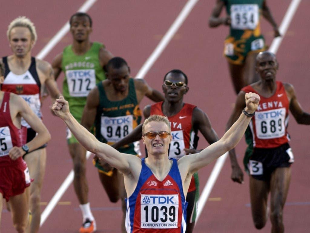 André Bucher war an der WM 2001 in Edmonton über 800 m eine Klasse für sich