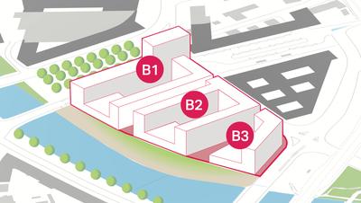 Blick auf die Baufelder B1, B2 und B3: Auf einer Fläche von 17'000 Quadratmetern sollen neue Wohnungen entstehen. (Visualisierung: PD / Immo)