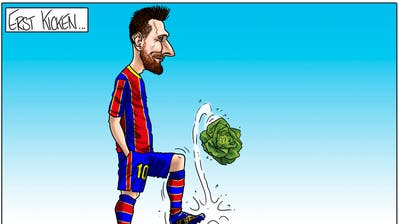 Auch Superstar Lionel Messi bevorzugt vegetarische Ernährung. (Karikatur: Silvan Wegmann)