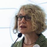 Corine Mauch, Stadtpräsidentin von Zürich und Nexpo-Präsidentin, stellt in Bern die nächsten Schritte für eine Landesausstellung in den Städten vor. (Peter Schneider / Keystone)