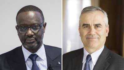 Der ehemalige und der jetzige CEO der Credit Suisse: Tidjane Thiam (links) undThomas Gottstein (rechts). ((Bilder: Keystone))