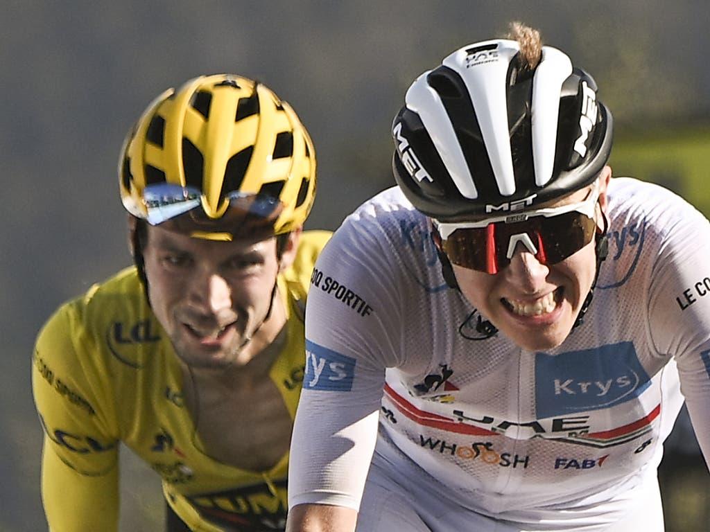 Vor der letzten Tour-Woche liegt Primoz Roglic (links) im Gesamtklassement nur um 40 Sekunden vor seinem slowenischen Landsmann Tadej Pogacar