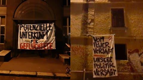 Ein Kollektiv fordert dazu auf, Flüchtlinge aus Griechenland unkompliziert aufzunehmen: Transparente am Hotel Ekkehard und an der Felsenstrasse. (Bild: PD (13.9.2020))