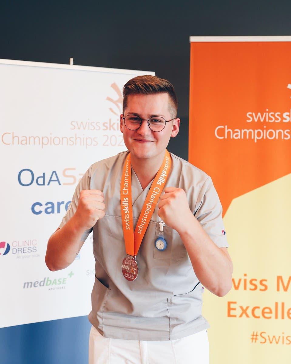 Kilian Schmid, Fachmann Gesundheit, holte sich in Zürich Silber.