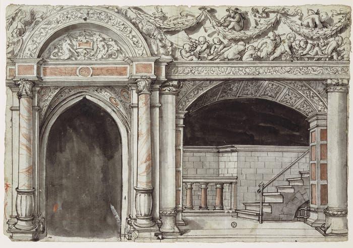Das Hertensteinhaus wurde durch Vater und Sohn Holbein verziert. Hier ein Entwurf von Hans Holbein (Sohn).