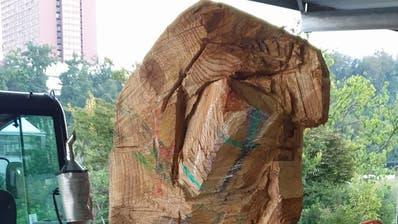 Die Holzskulptur befand sich noch in Arbeit. (Bild: Luzerner Polizei)