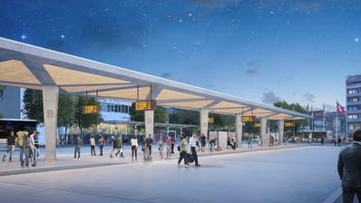 So soll der neue Bahnhofplatz dereinst aussehen. Die Realisierung ist bis 2028 vorgesehen. (Visualisierung: PD)
