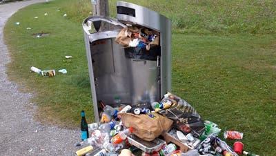 Abfälle liegen rund um den Kübel im Seeburgpark ((Bild: PD))