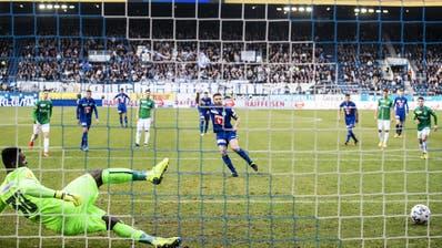 Luzerns Francesco Margiotta erzielt das 1:0 im Spiel gegen den FC St. Gallen. (Bild: Alexandra Wey / Keystone (16. Februar 2020))