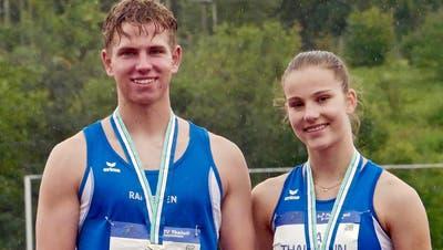 Gewannen Gold an den Staffel-Meisterschaften beziehungsweise am Schweizer Sprintfinal: Joel Gasser und Lia Thalmann vom KTV Wil Leichtathletik. (Bild: PD)