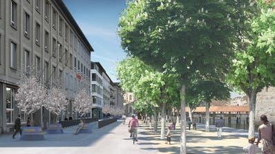 14 dieser Bäume werden wegen der Velostation gefällt und nachher wieder gepflanzt. 4 weitere müssen aufgrund des neuen Verkehrsregimes weichen. (Visualisierung: PD/Stadt Luzern)