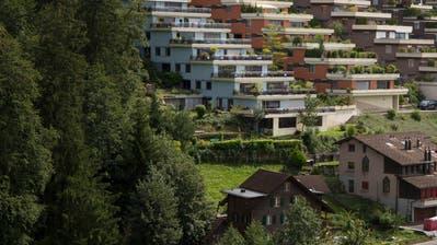 Der Einsprecher Hugo Räber wohnt im untersten Haus der Reihe, die an den Herrenwald (links) grenzt. (Bild: Stefan Kaiser (Neuheim, 31.August 2020))
