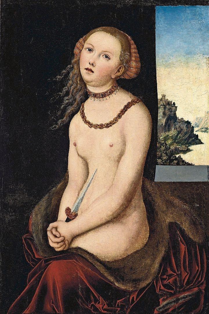 Eines der zwölf Werke, die das Brooklyn Museum in New York am 15. Oktober unter den Hammer bringt. «Lucretia» von Lucas Cranach d. Ä. (1472–1553). Schätzung: 1,2 bis 1,8 Mio. Dollar.