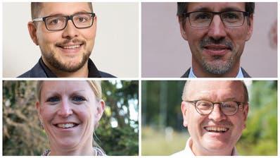 Wurden im ersten Wahlgang wiedergewählt (von oben links im Uhrzeigersinn): David Affentranger, Daniel Eugster, Hugo Beck und Rebekka Renz. (Bilder: PD)