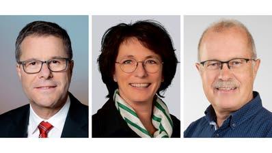 Schafften das absolute Mehr im ersten Wahlgang (von links): Stadtpräsident Daniel Gut (SP, bisher); Schulpräsidentin Katrin Frick (FDP, bisher); Stadtrat Heinz Rothenberger (parteilos, bisher).