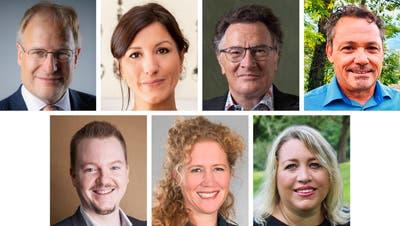 In der Gemeinde Sevelen sind gewählt (im Uhrzeigersinn von oben links): Eduard Neuhaus, Petra Vetsch, Ruedi Kühne, Harald Müntener, Barbara Samu-Schneider, Ursula Wunder Novotny und Marc Spitz.