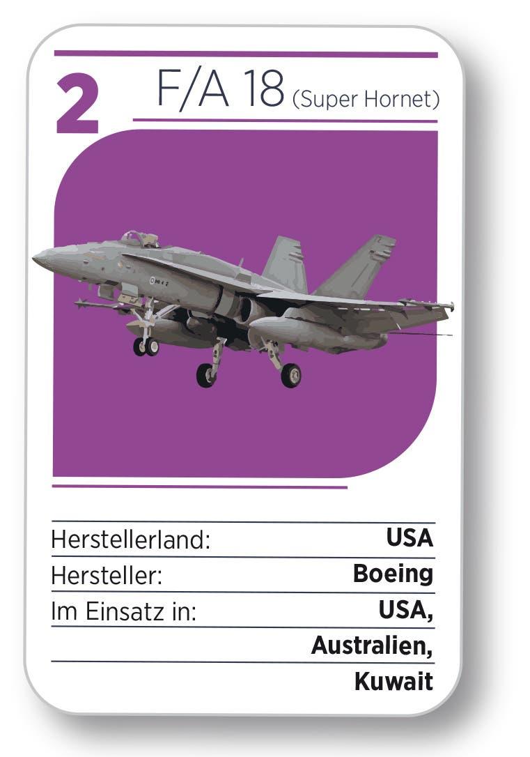 Kampfjet Nr. 2: Der F/A 18 (Super Hornet) aus den USA.