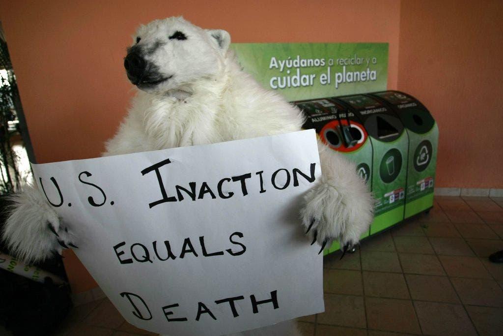 Aktivisten machen auf die Eisbären aufmerksam. Sie drohen im Zuge des Klimawandels unterzugehen.