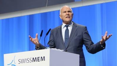 Der Lohnschutz dürfe dem Rahmenabkommen mit der EU nicht im Wege stehen, sagt Swissmem-Präsident Hans Hess. (Keystone)