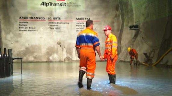 Überschwemmung im Gotthardtunnel