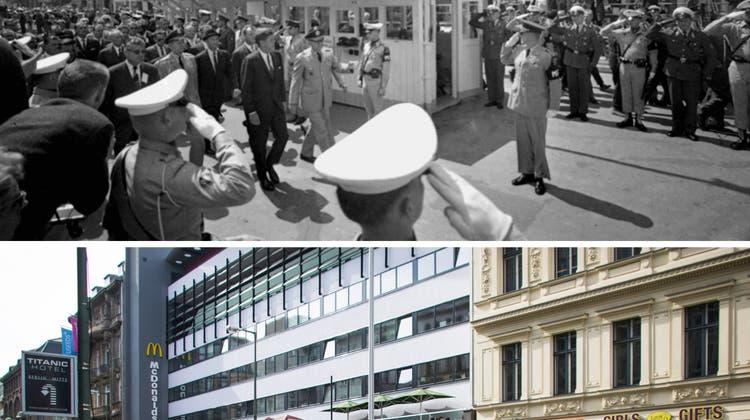 Checkpoint Charlie war Berlins bekanntester Grenzübergang. 1978 und 2019. (Keystone)