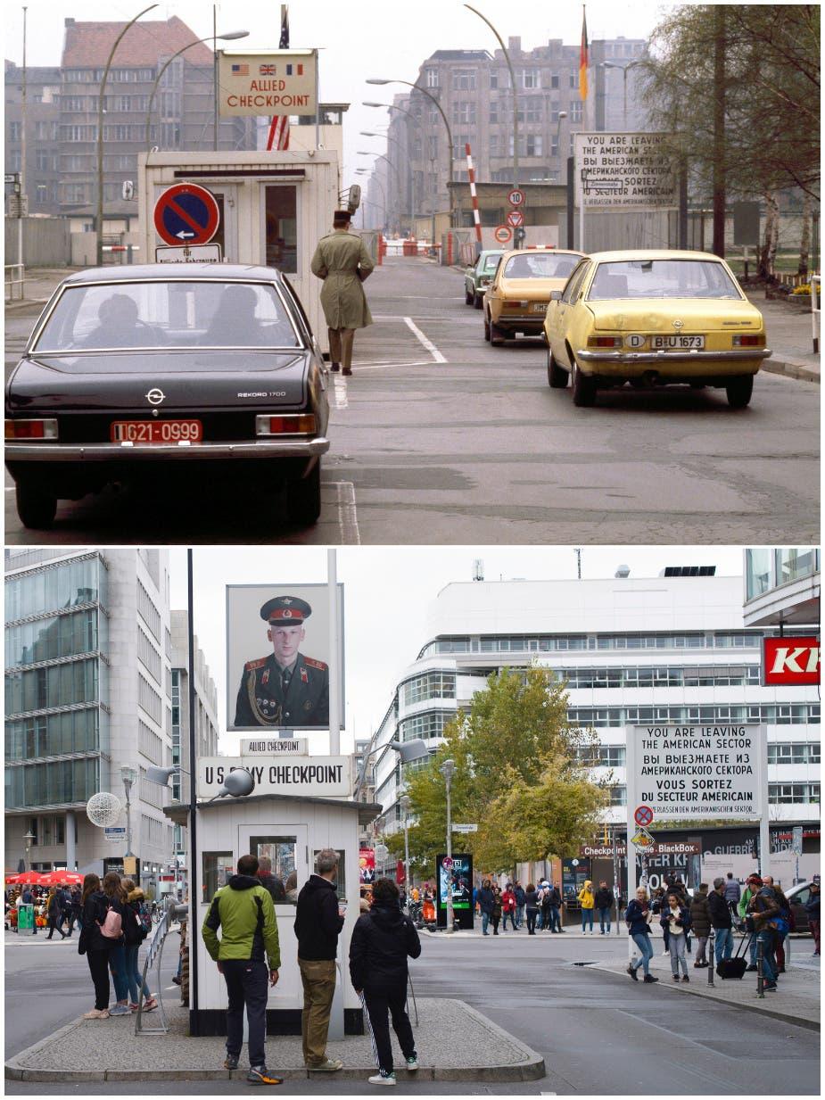 Checkpoint Charlie war Berlins bekanntester Grenzübergang. 1978 und 2019.