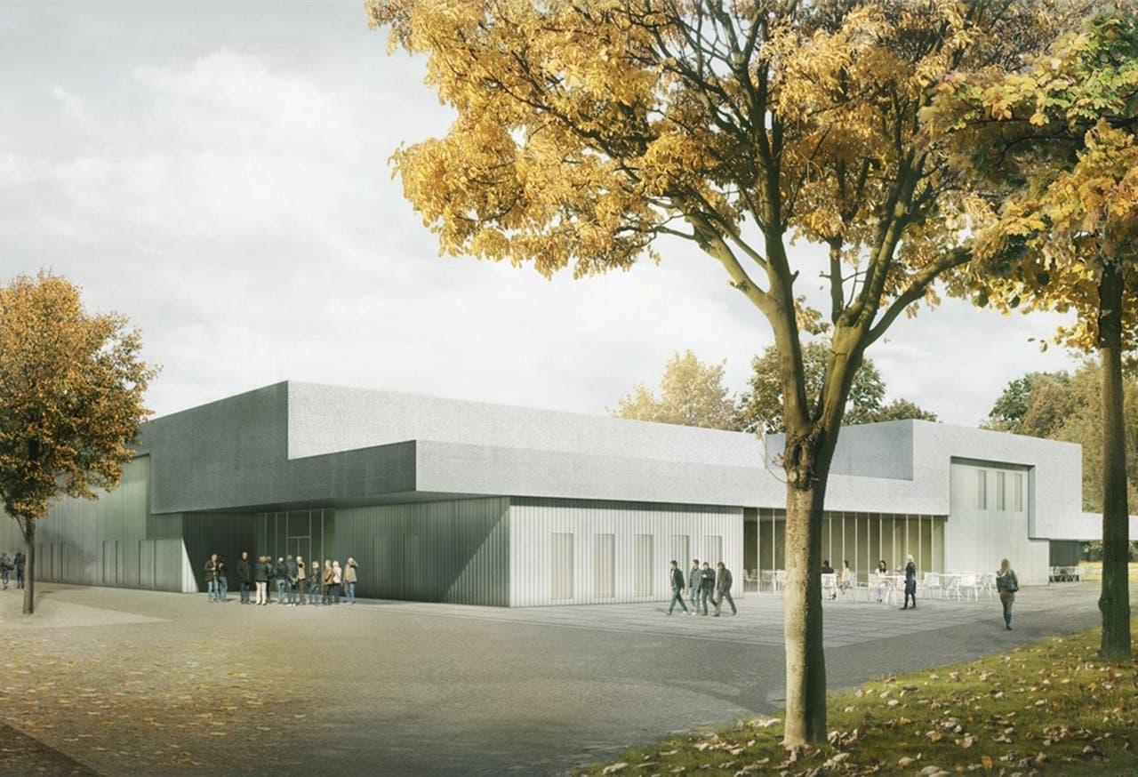 Eishalle: Die Fassade des zweigeschossigen Baus ist von der Eisfläche inspiriert.