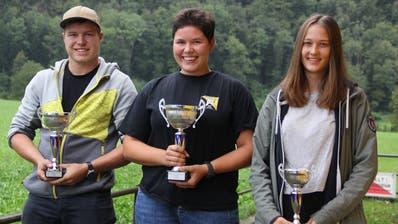Sie schafften es auf die Podestplätze (von links): Silvan Gisler, Jasmina De Moliner und Leonie Zurfluh.