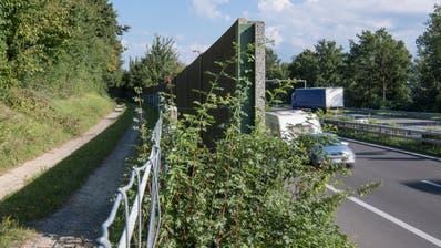 Eine Lärmschutzwand an der A2 in Eich. (Nadia Schärli (17. August 2017))