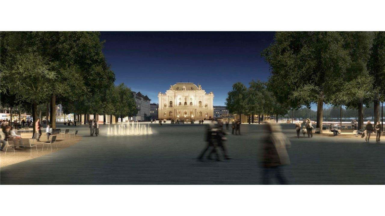 Die Vision Ein neuer, vergrösserter Sechseläutenplatz aus Valser Quarzit, mit beleuchtetem Wasserspiel und Baumgruppen.