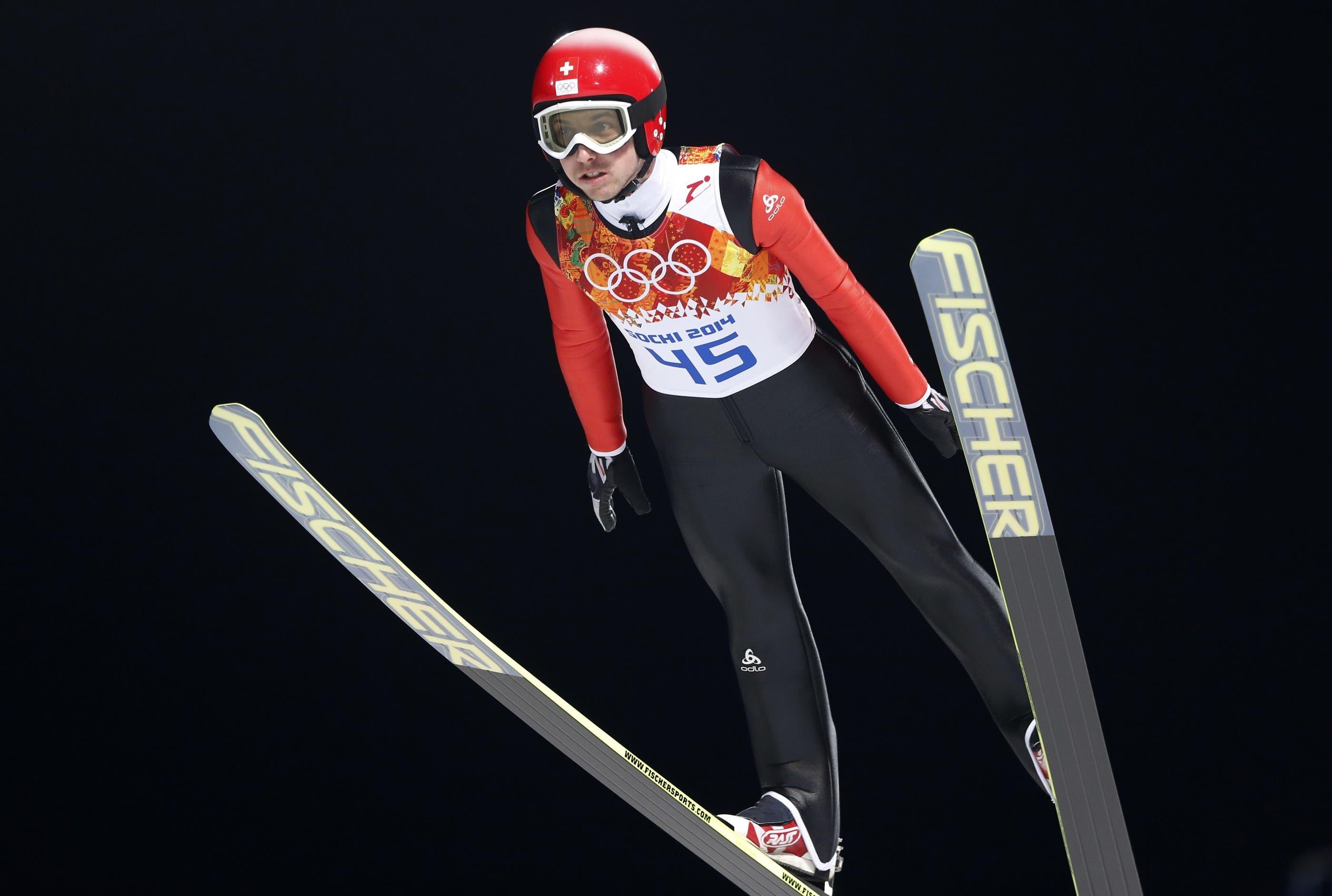 Simon Ammann auf der Normalschanze in Sotschi