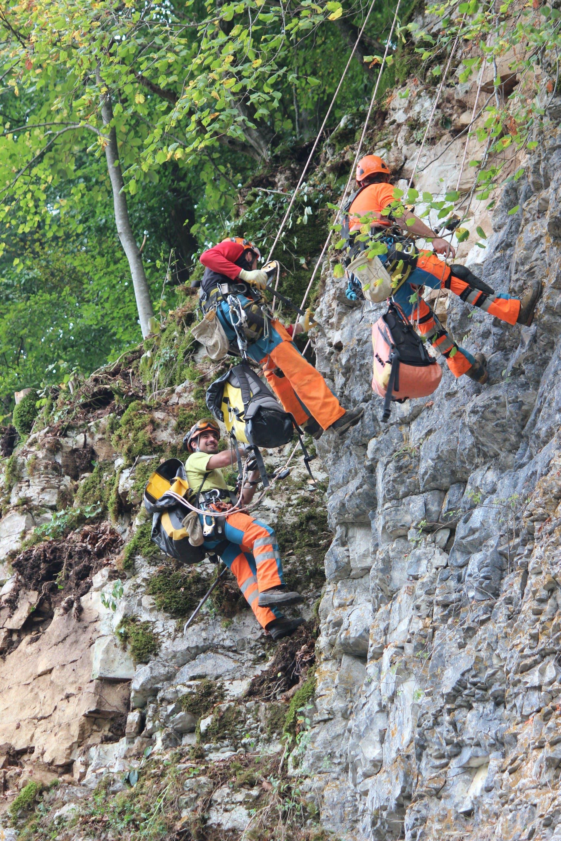 Die Innerschweizer Felstechniker Mario Fullin, Thomas Guallini und Gianni Di Giulio (von links) reinigen die Felsen im «Chessel». NRO