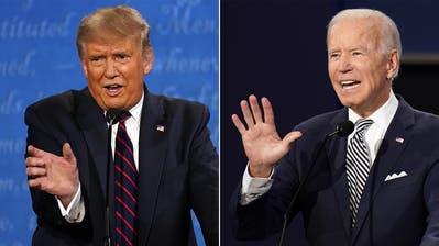 Keine netten Worte füreinander: US-Präsident Donald Trump (links) und Herausforderer Joe Biden während der TV-Debatte. (Keystone)
