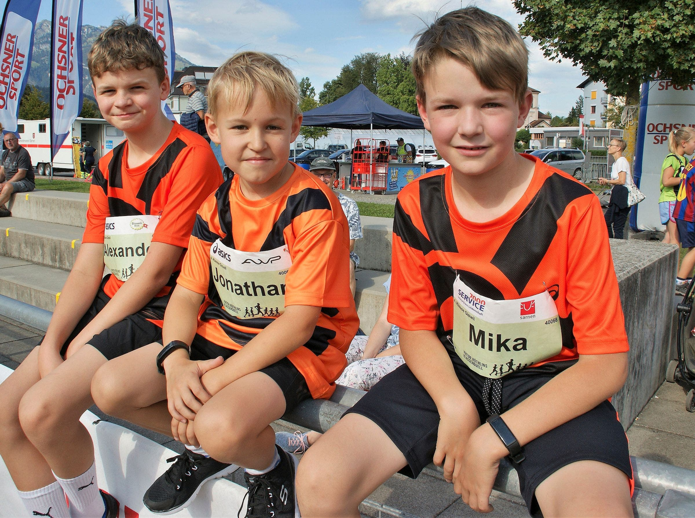 Die Vierklässler aus Giswil: (von links) Alexander, Jonathan, Mika .