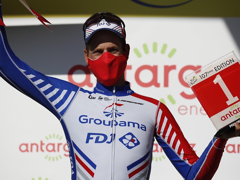 Der Thurgauer Stefan Küng wagte sich in der 10. Etappe in die Offensive und erhielt dafür die rote Rückennummer für den kämpferischsten Fahrer des Tages