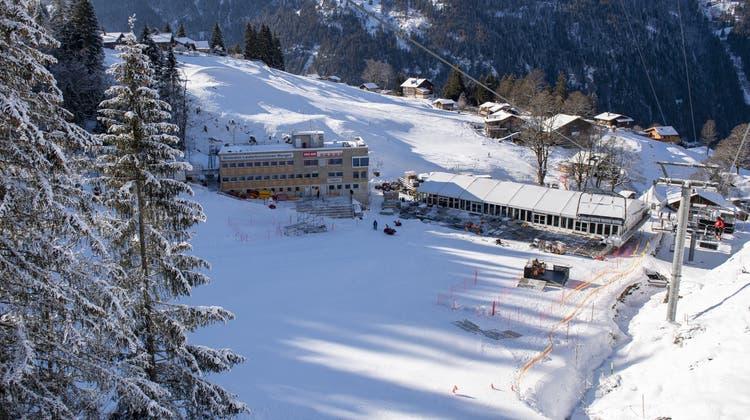 Das Ziel der Lauberhorn-Abfahrt. Zugang zum Skigebiet erhält lediglich der Weltcuptross. (Keystone)
