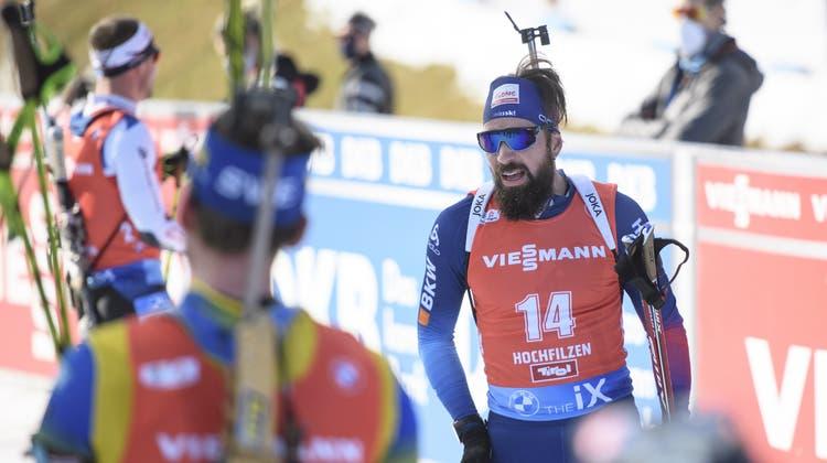 Der Schweizer Benjamin Weger blieb am Schiessstand am Sonntag fehlerlos. (Keystone)