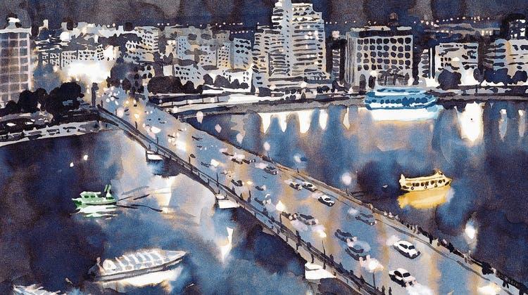 In die kleinen Bilder, die Storys erzählen, hat Lorenz Rieser auch immer wieder grossformatige Impressionen zu Kairo eingestreut. (Bild: PD)
