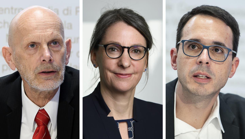 BAG-Chefin Anne Lévy und die beiden früheren Chefs der Abteilung Übertragbare Krankheiten: Daniel Koch (l.) und Stefan Kuster. (Bilder: Keystone)