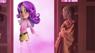 Die Animationsfigur Miss Bellyfoo, die bald rund um die Welt bekannt werden soll, betritt in dieser Filmsequenz die reale Welt. (Bild: PD)