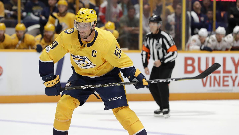 Sammelte in der NHL 450 Skorerpunkte und löste damit Mark Streit ab: Der Schweizer Roman Josi. (AP)