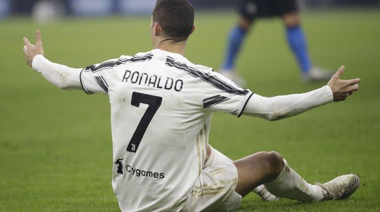 Ihm blieb nur das Hadern: Cristiano Ronaldo fiel gegen Inter mit keiner wirklich nennenswerten Aktion auf. (EPA)