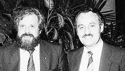 Ugolini (rechts) in den 1980ern mit dem damaligen Nati-Coach Paul Wolfisberg. (Bild: Philippe Ugolini)