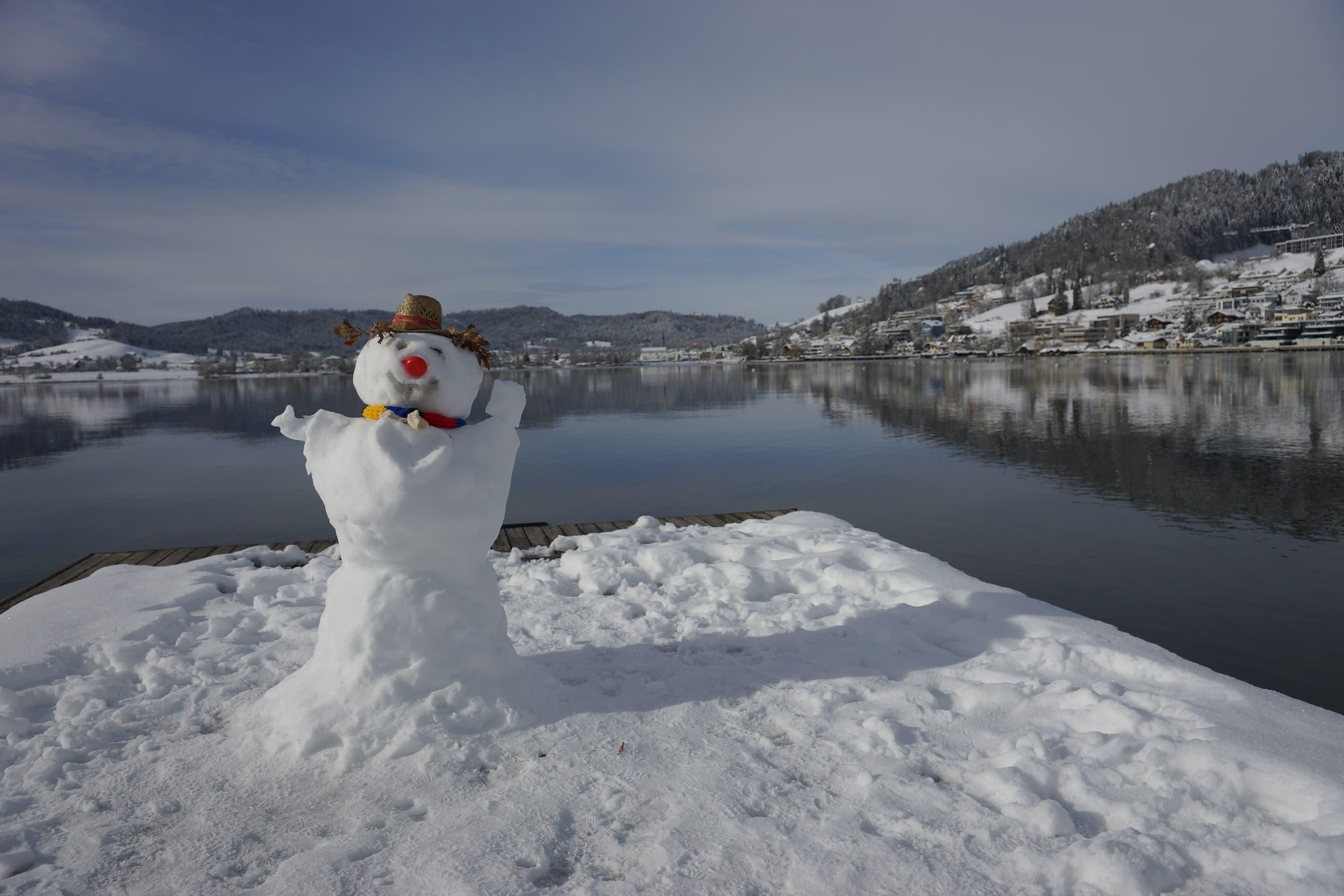 Schneemann am Ägerisee.