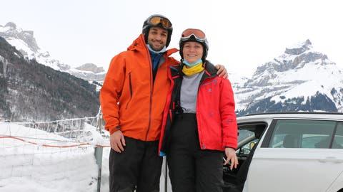 Fabio und Jana aus Baden geniessen einen Tag in Zweisamkeit. (Kristina Gysi (Engelberg, 20. Januar 2021))